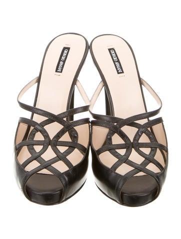 Leather Peep-Toe Mules