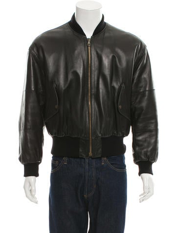 Giorgio Armani Leather Bomber Jacket None