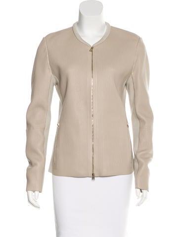 Giorgio Armani Collarless Leather Jacket w/ Tags None