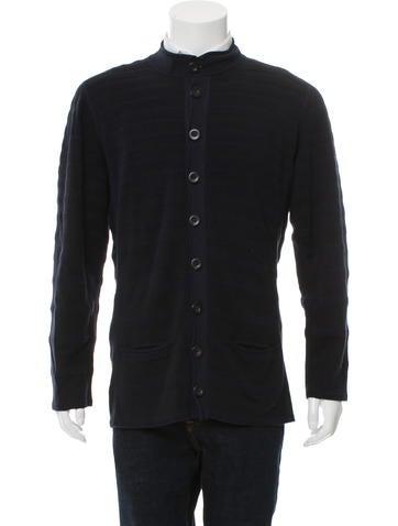 Giorgio Armani Striped Rib Knit Cardigan None