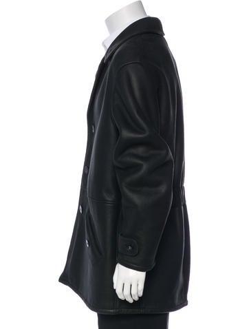 b1371088b7909 Giorgio Armani. Leather Button-Up Coat