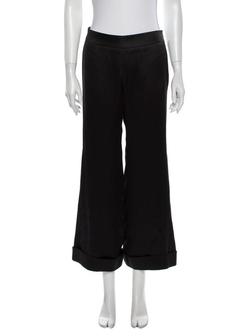 Giorgio Armani Silk Wide Leg Pants Black