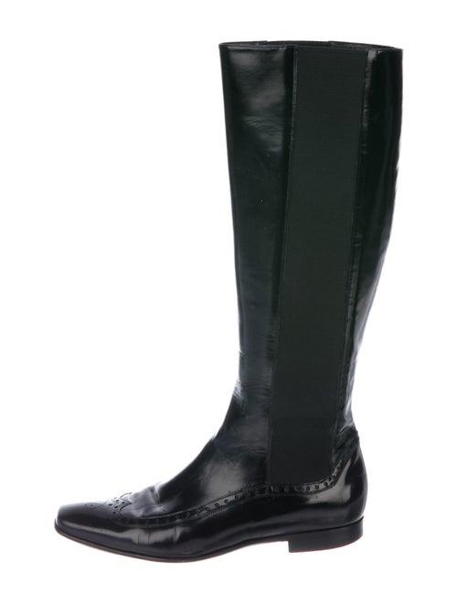 Giorgio Armani Patent Leather Riding Boots Black