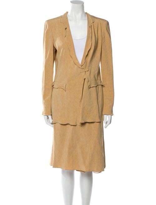 Giorgio Armani Linen Skirt Suit Yellow