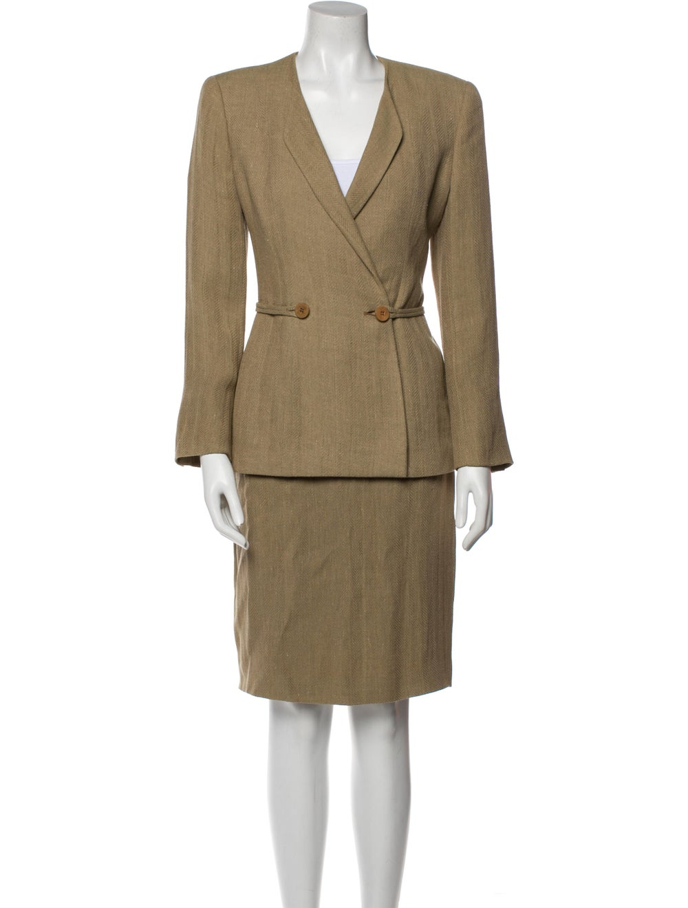 Giorgio Armani Linen Patterned Skirt Suit - image 1