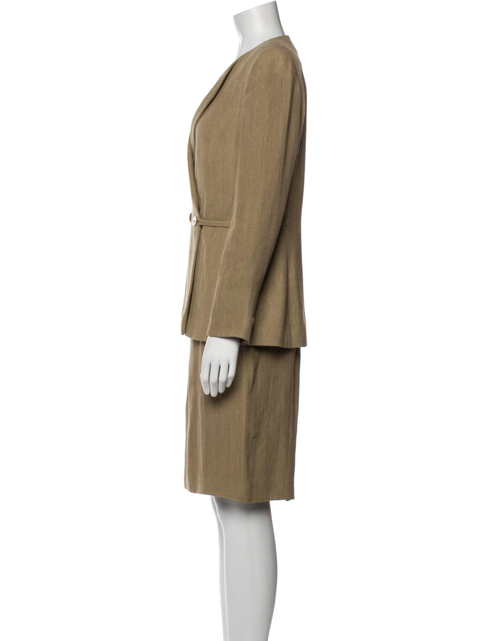 Giorgio Armani Linen Patterned Skirt Suit - image 2