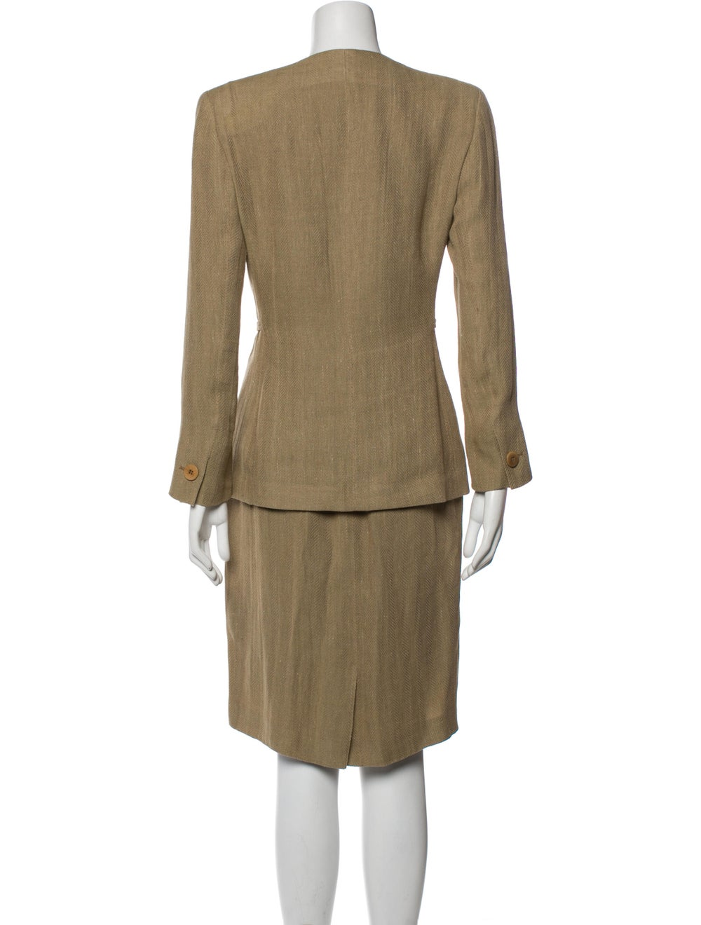 Giorgio Armani Linen Patterned Skirt Suit - image 3