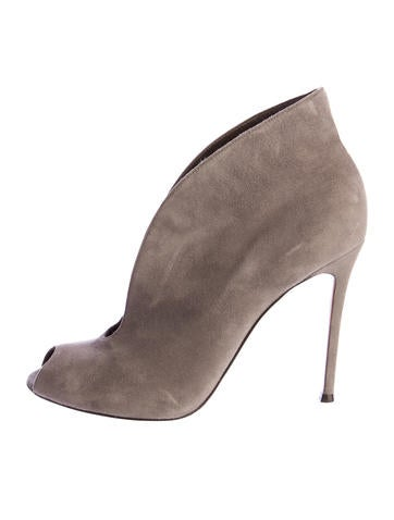 Suede Split-Front Ankle Boots