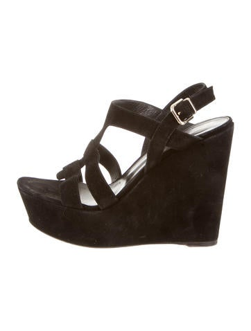 Suede T-Strap Wedges