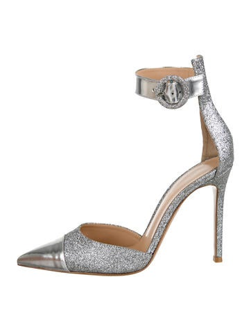 Glittered Pointed-Toe Pumps