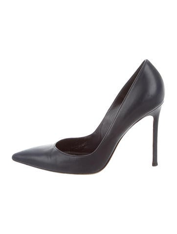 Leather Pointed-Toe Pumps