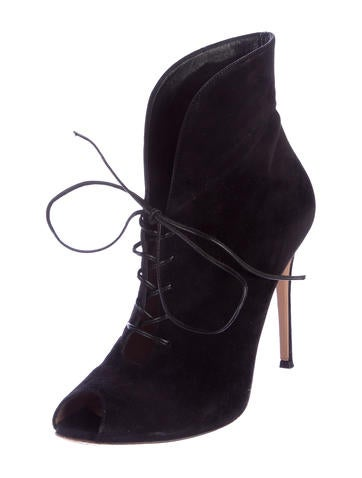 Peep-Toe Lace-Up Booties