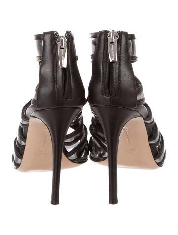 Metallic Leather Peep-Toe Booties