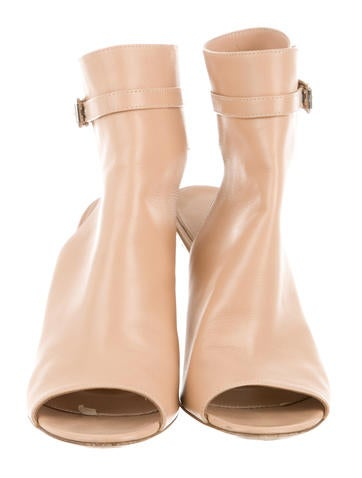 Leather Peep-Toe Booties