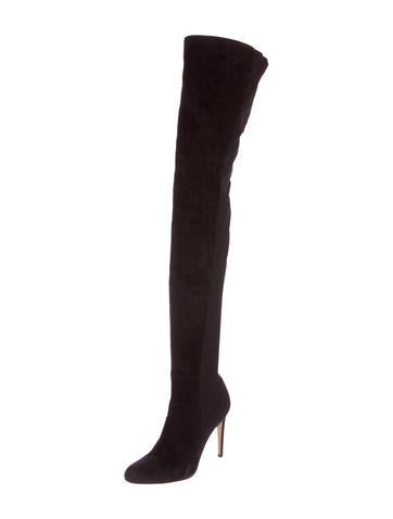 Black Suede Over-The-Knee Boots