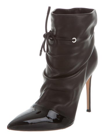 Leather Pointed-Toe Booties