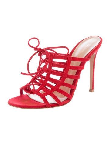 Suede Cage Slide Sandals