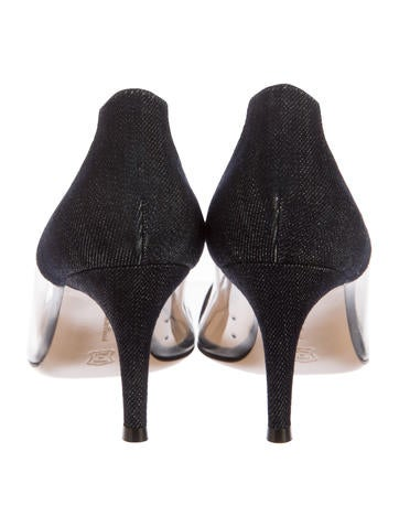 Denim Pointed-Toe Pumps