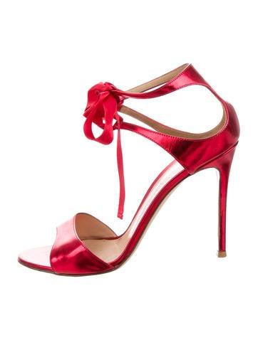 Metallic Lace-Up Sandals