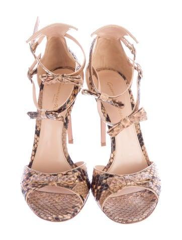 Snakeskin Ankle Strap Sandals