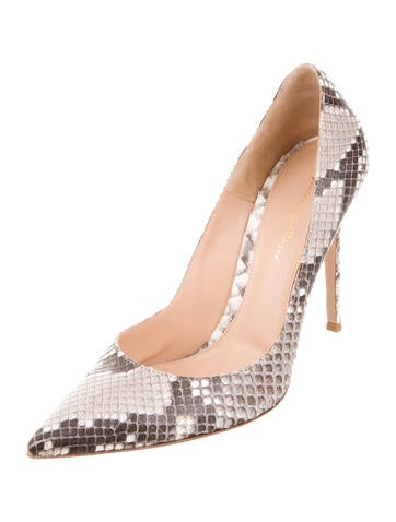 Pointed-Toe Snakeskin Pumps