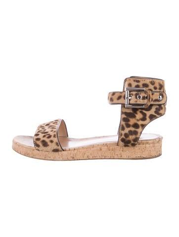 Gianvito Rossi Ponyhair Cheetah Print Sandals None