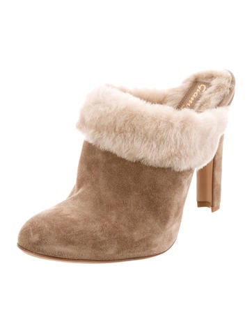 sale pictures new styles sale online Gianvito Rossi Suede Shearling Mules ybNVSnIu
