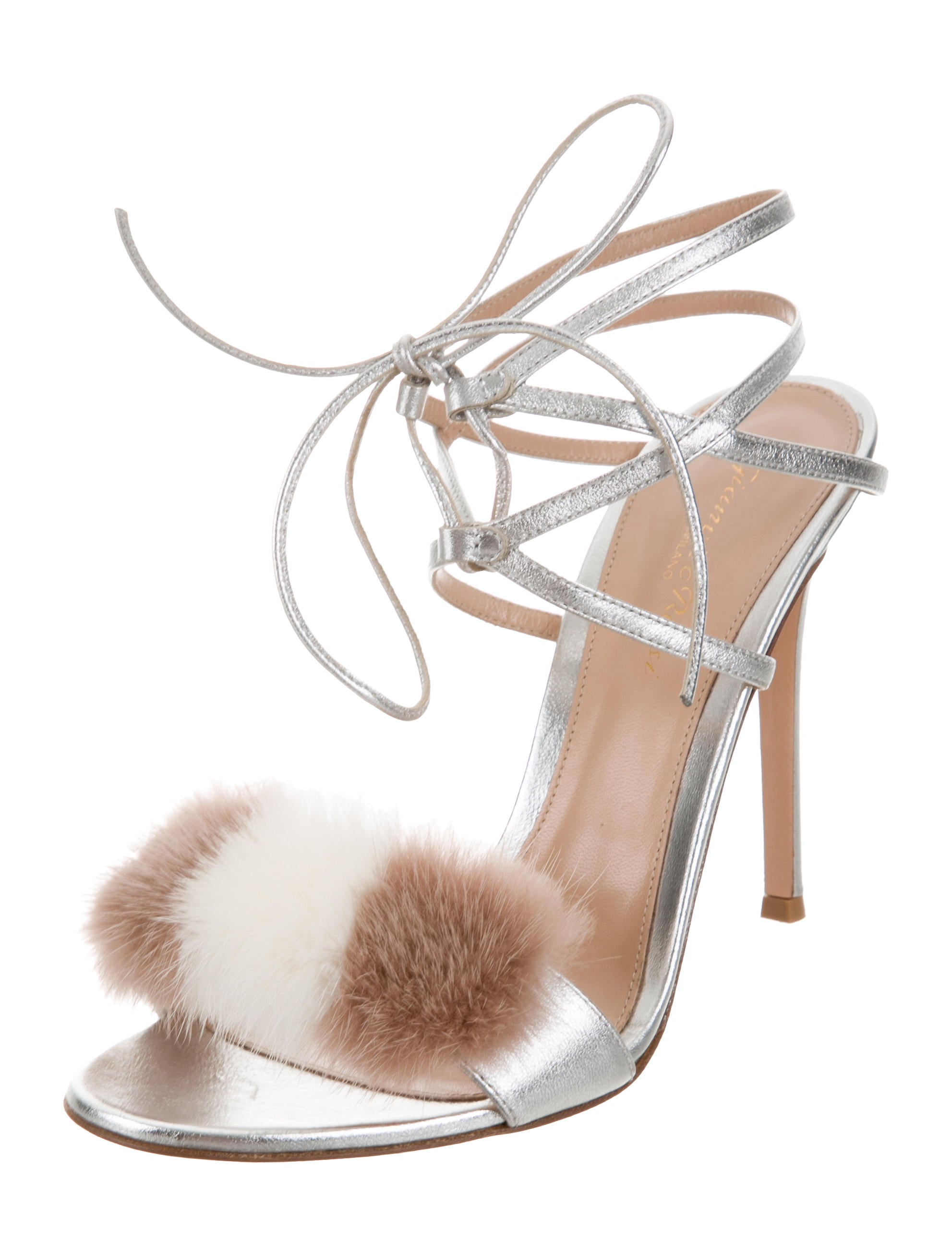 Gianvito Rossi Mink-Trimmed Metallic Sandals affordable cheap online brand new unisex cheap price wide range of cheap price best sale for sale discount wholesale ZBlgJDYH