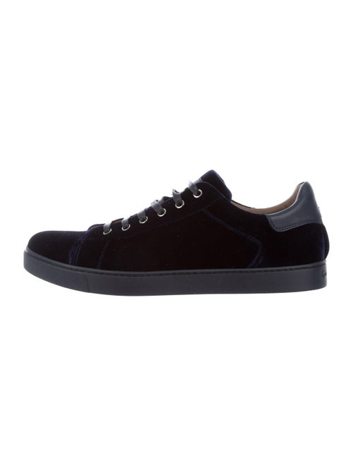 Gianvito Rossi Velvet Low-Top Sneakers Navy