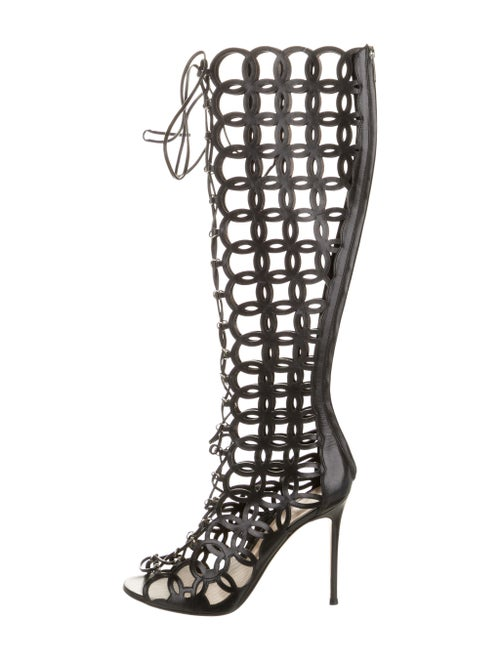 Gianvito Rossi Laser Cut Knee-High Boots Black