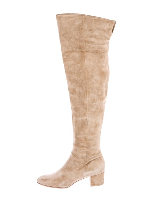 Gianvito Rossi Suede Over-The-Knee Boots Beige