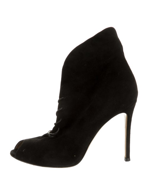 Gianvito Rossi Suede Lace-Up Boots Black