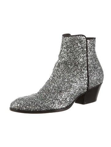 Round-Toe Glitter Booties