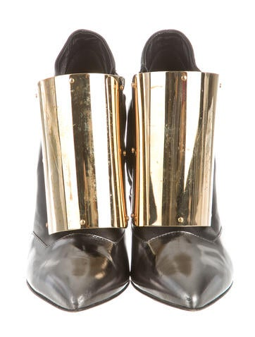 Gold-Plated Pointed-Toe Booties