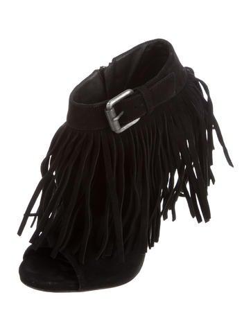 Fringe Peep-Toe Ankle Boots