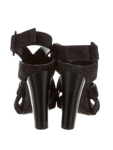 Ponyhair Crossover Sandals