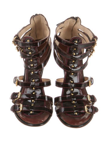Patent Leather Cage Sandals