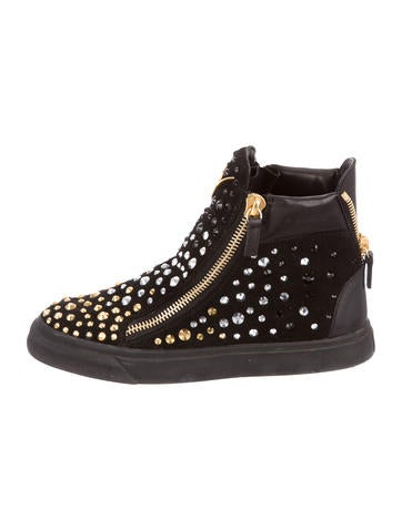Studded Suede Round-Toe Sneakers