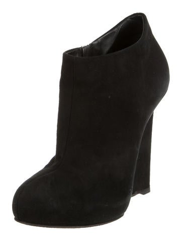 Suede Round-Toe Booties