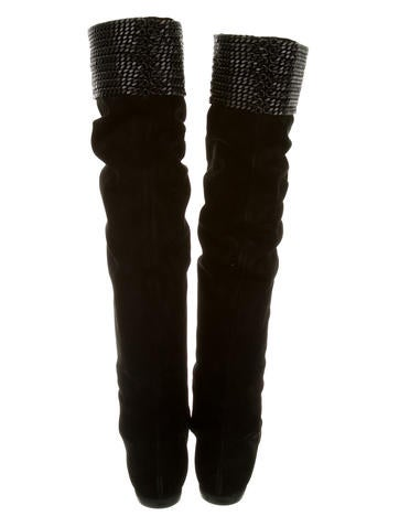 Chain-Link Thigh-High Boots