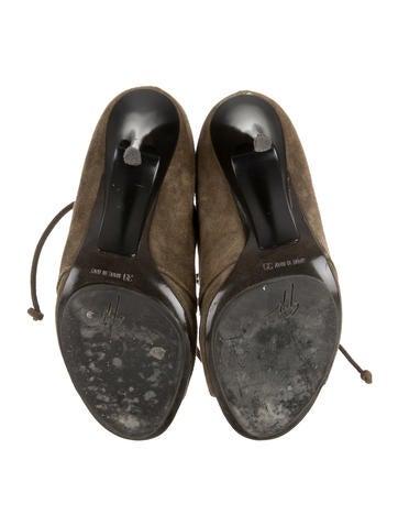 Suede Peep-Toe Booties
