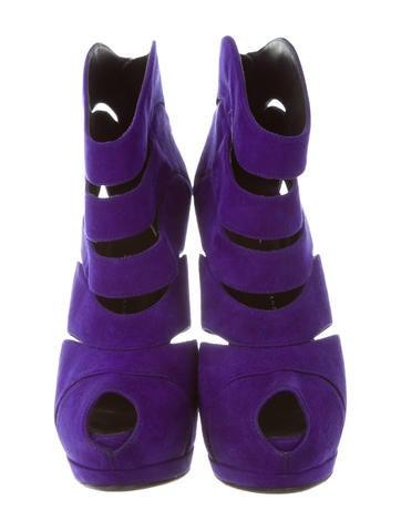 Peep-Toe Platform Ankle Boots