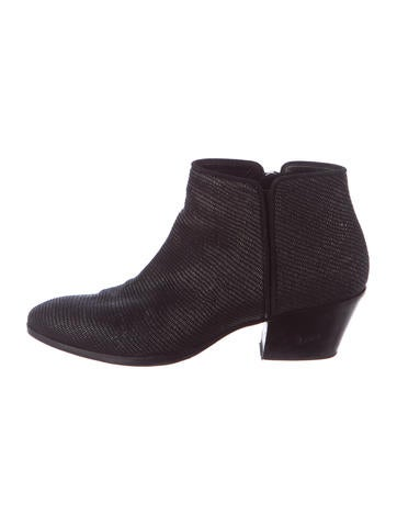 Embossed Leather Semi-Pointed Toe Ankle Boots