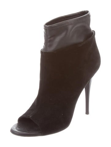 Suede Peep-Toe Ankle Boots