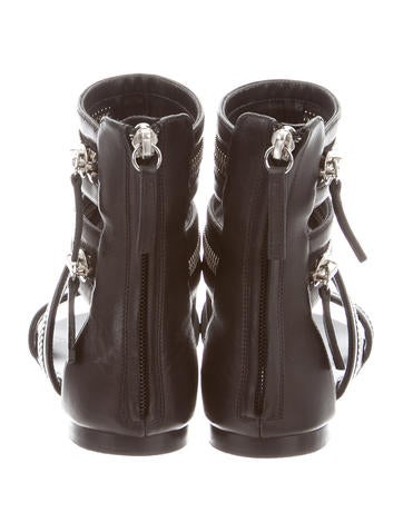 Leather Multistrap Zip Sandals
