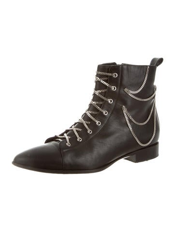 Chain-Link Pointed-Toe Ankle Boots