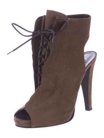 Pebbled Leather Lace-Up Booties