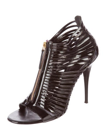 Cage Patent Leather Booties