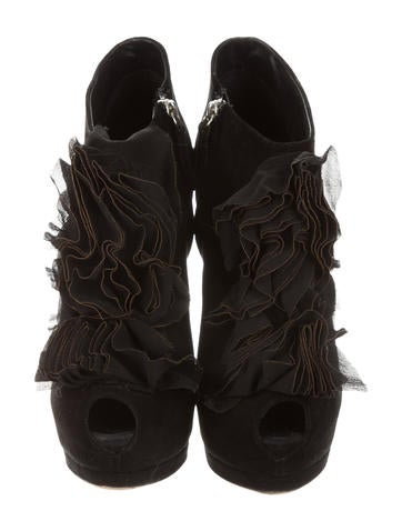 Ruffle Embellished Peep-Toe Booties