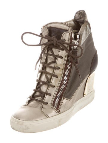 Round-Toe Wedge Sneakers